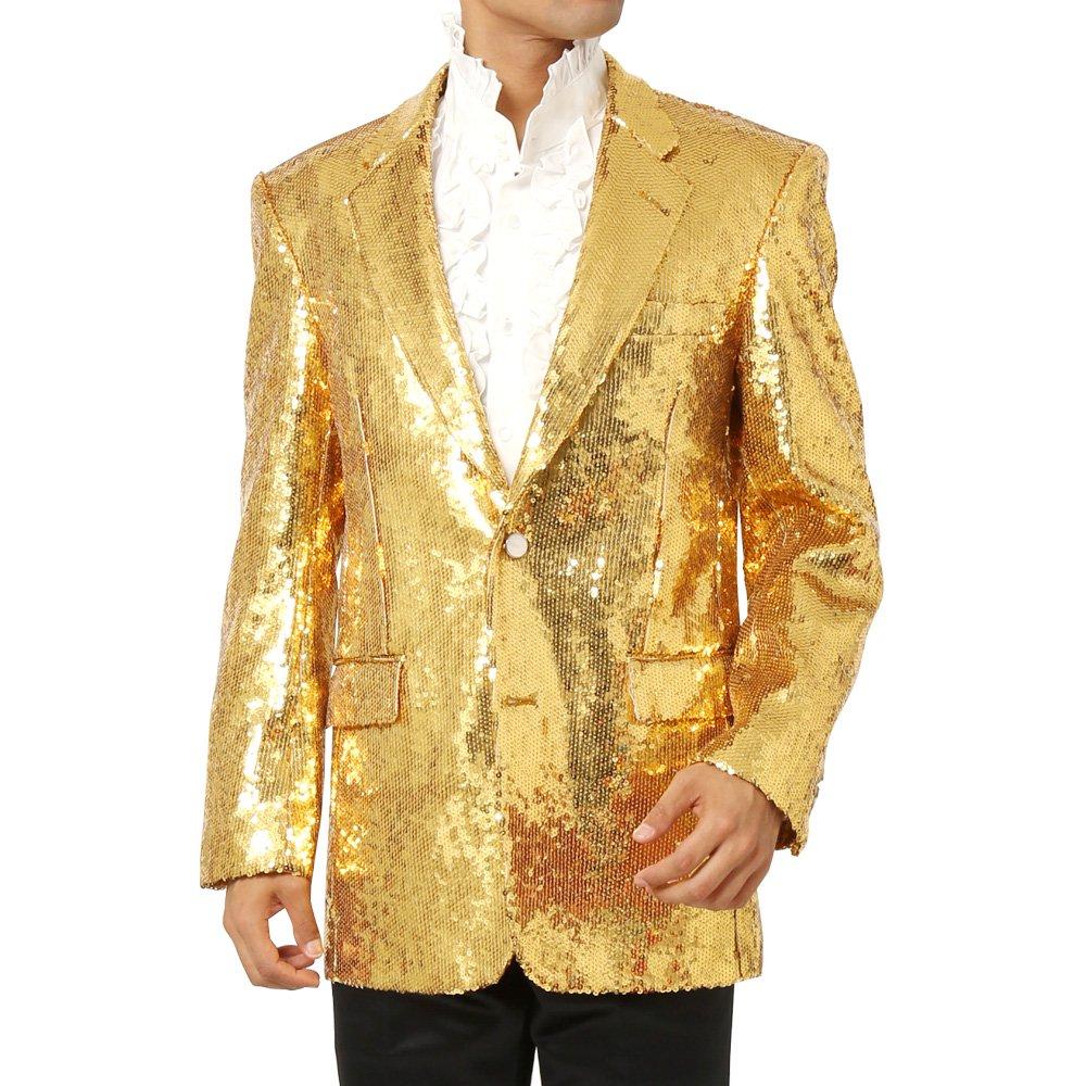 スパンコール生地 2つボタンテーラードジャケット メンズ 衣装 カラー:ゴールド