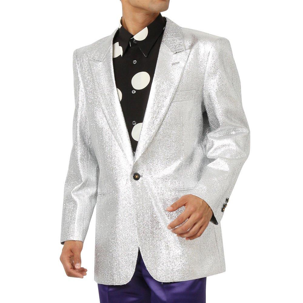 スペースラメ ピークドラペル1つボタンテーラードジャケット メンズ 衣装 カラー:シルバー