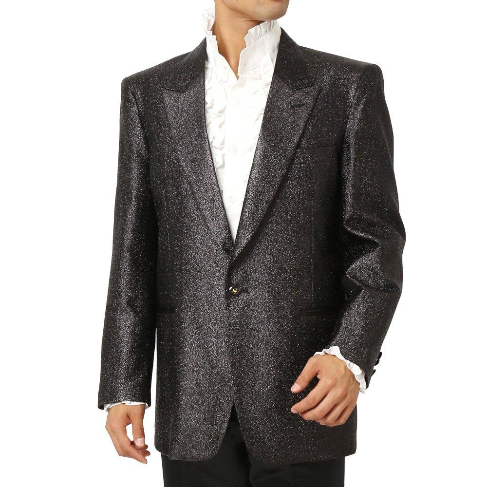 スペースラメ ピークドラペル1つボタンテーラードジャケット メンズ 衣装 カラー:ブラック
