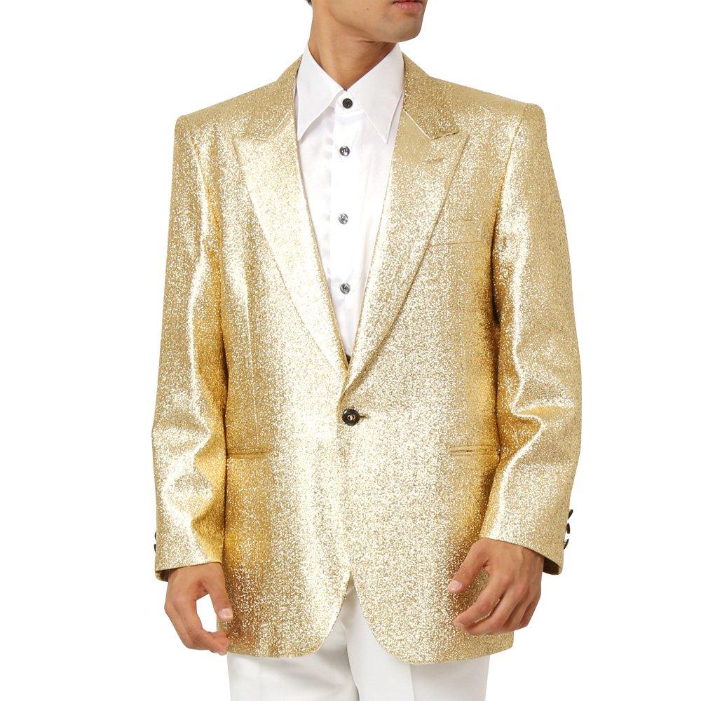 スペースラメ ピークドラペル1つボタンテーラードジャケット メンズ 衣装 カラー:ゴールド