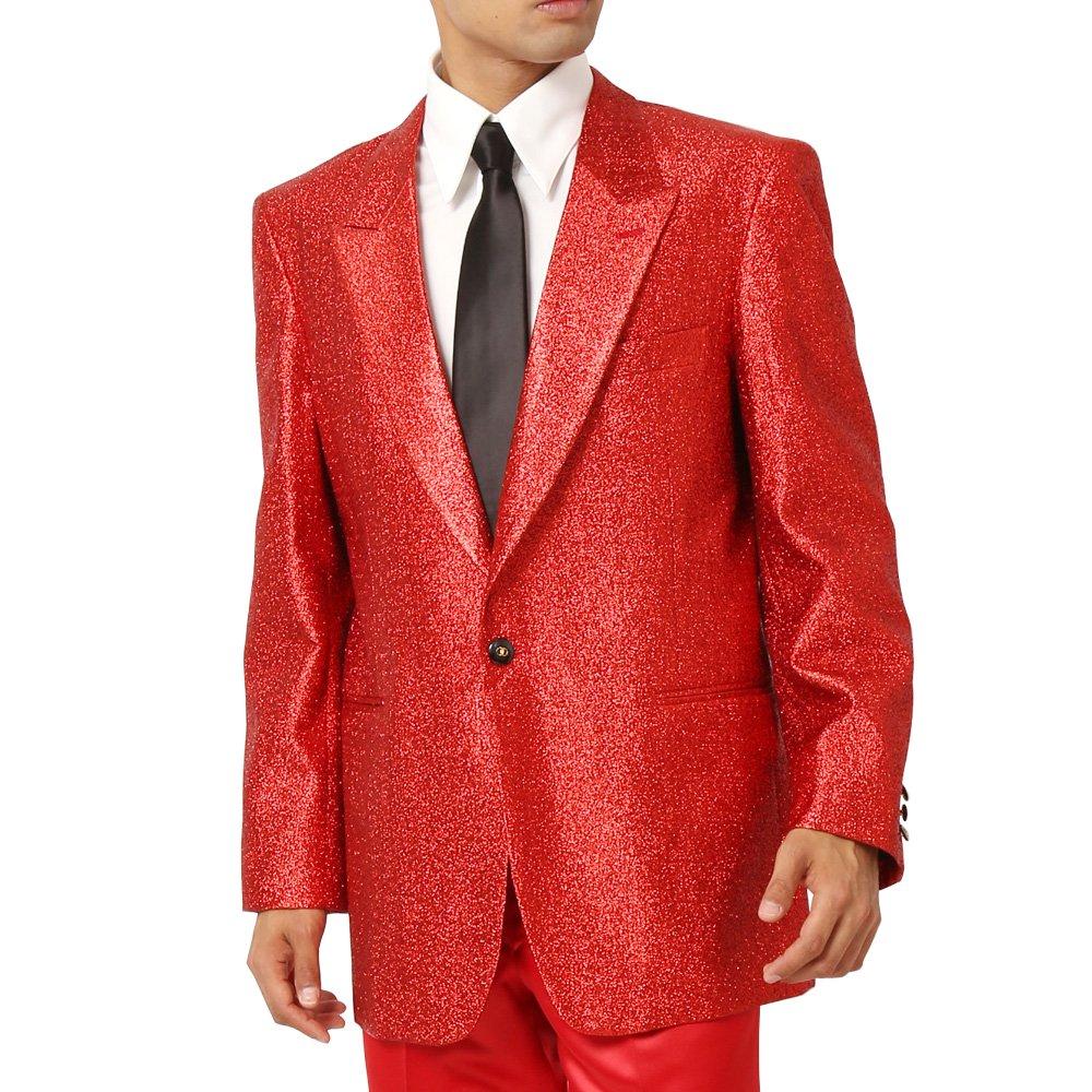 スペースラメ ピークドラペル1つボタンテーラードジャケット メンズ 衣装 カラー:レッド