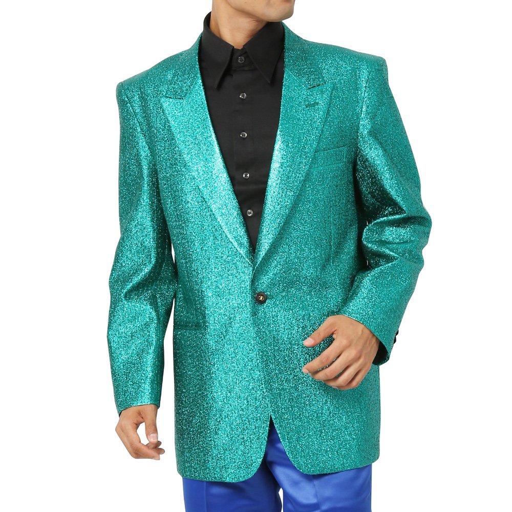 スペースラメ ピークドラペル1つボタンテーラードジャケット メンズ 衣装 カラー:グリーン