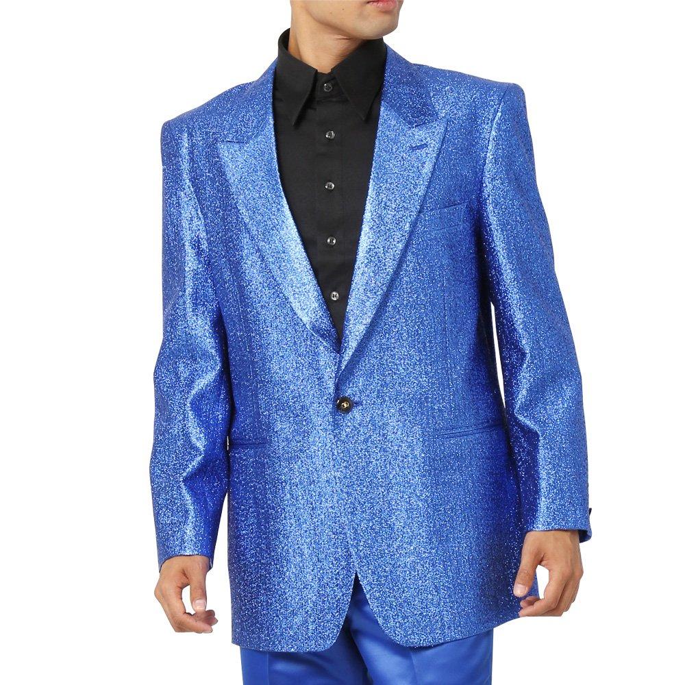 スペースラメ ピークドラペル1つボタンテーラードジャケット メンズ 衣装 カラー:ブルー