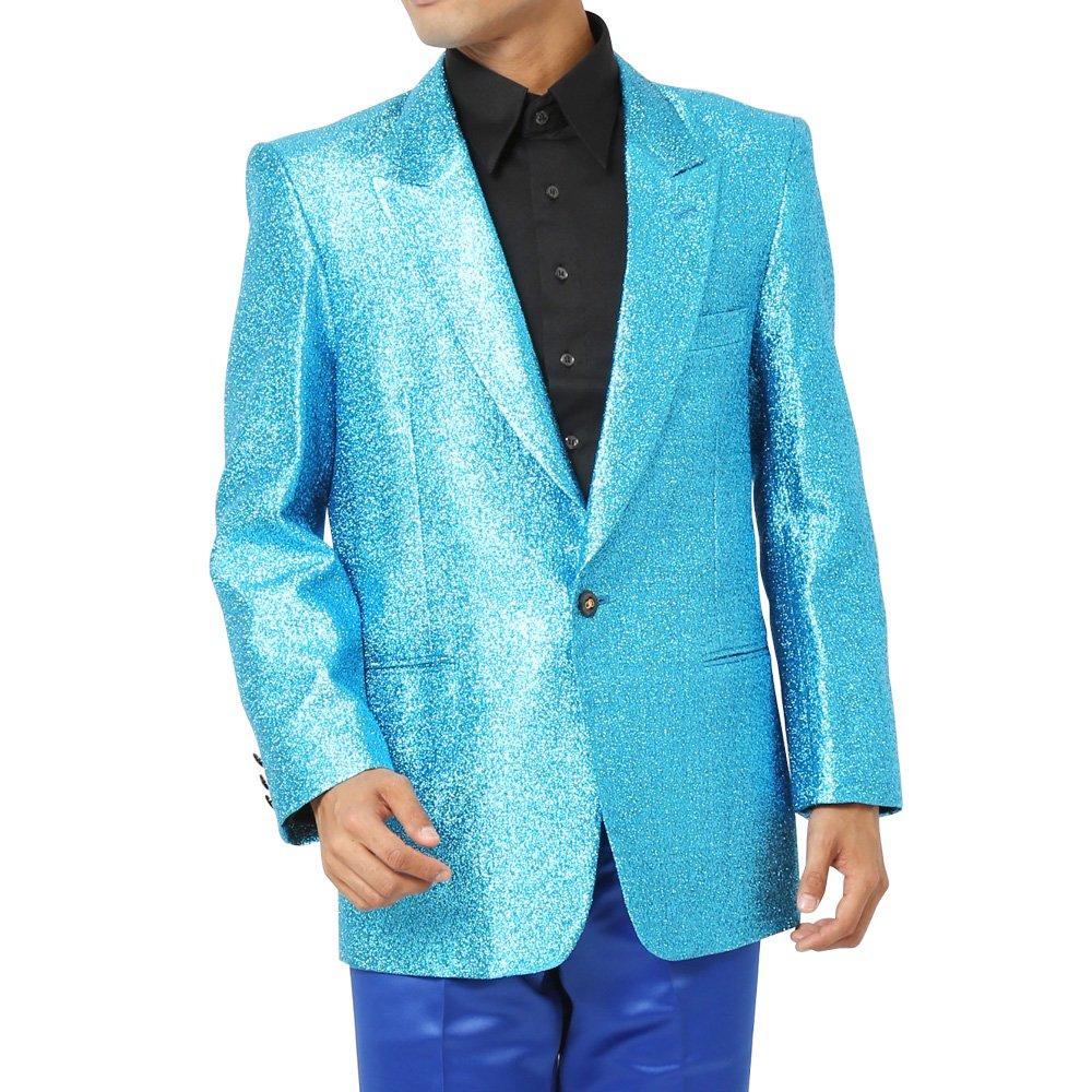 スペースラメ ピークドラペル1つボタンテーラードジャケット メンズ 衣装 カラー:サックス