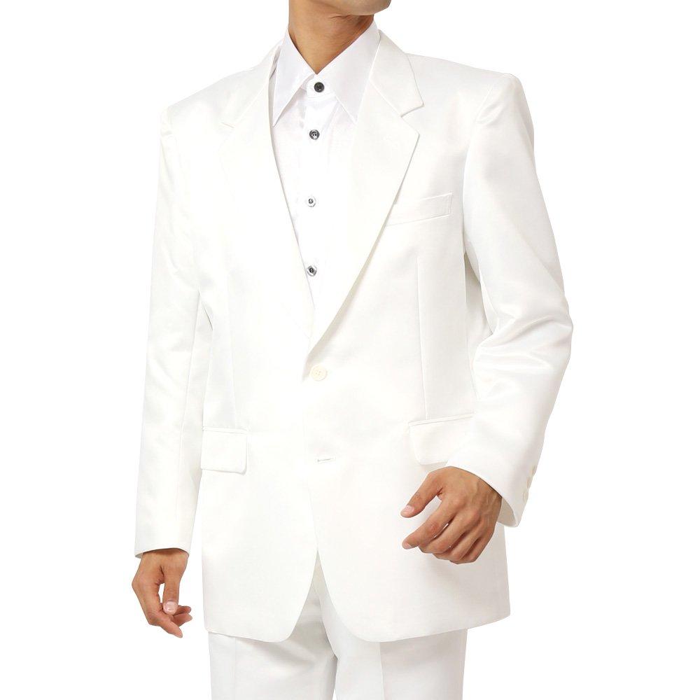 サテン2つボタンテーラードジャケット メンズ 衣装 カラー:ホワイト