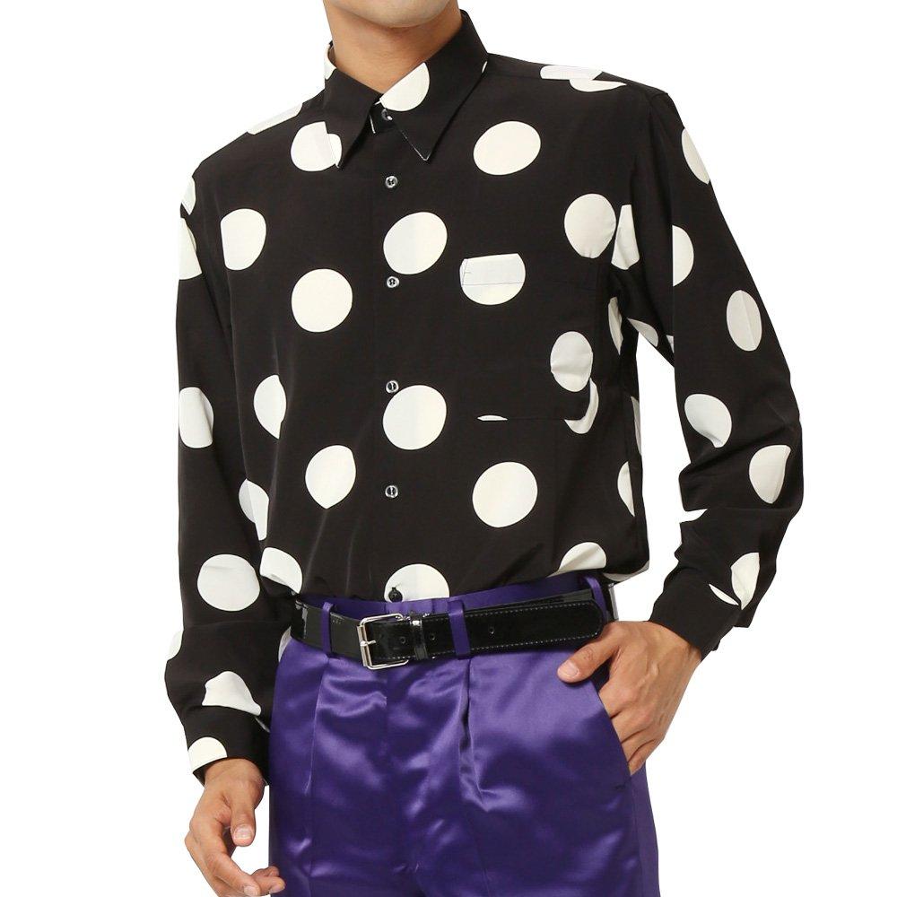 水玉柄 ドレスシャツ メンズ 衣装|カラー:ブラック・ホワイト