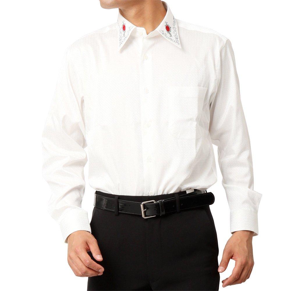 バラ刺繍柄 長袖 シャツ 男女兼用 衣装|カラー:ワイン / ブラック / ホワイト