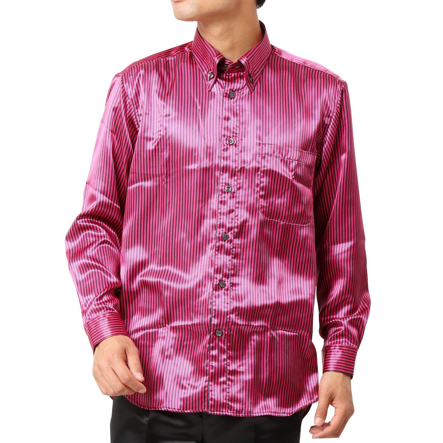 ストライプ 長袖 ドレスシャツ 男女兼用 衣装|カラー:ピンク