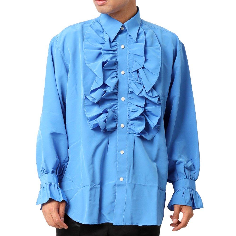 カラーフリル 長袖 シャツ 男女兼用 衣装|カラー:ブルー