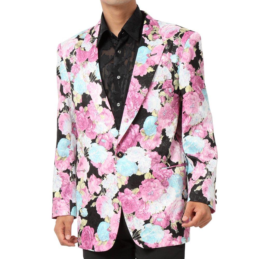 フラワープリント 1つボタン テーラード ジャケット 男女兼用 衣装|カラー:ホワイト / ブラック