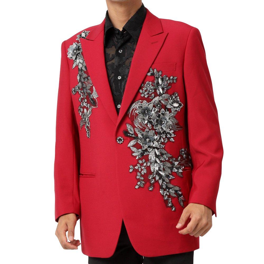 フラワーモチーフ 1つボタン テーラード ジャケット 男女兼用 衣装|カラー:ワイン / ブラック / ブルー