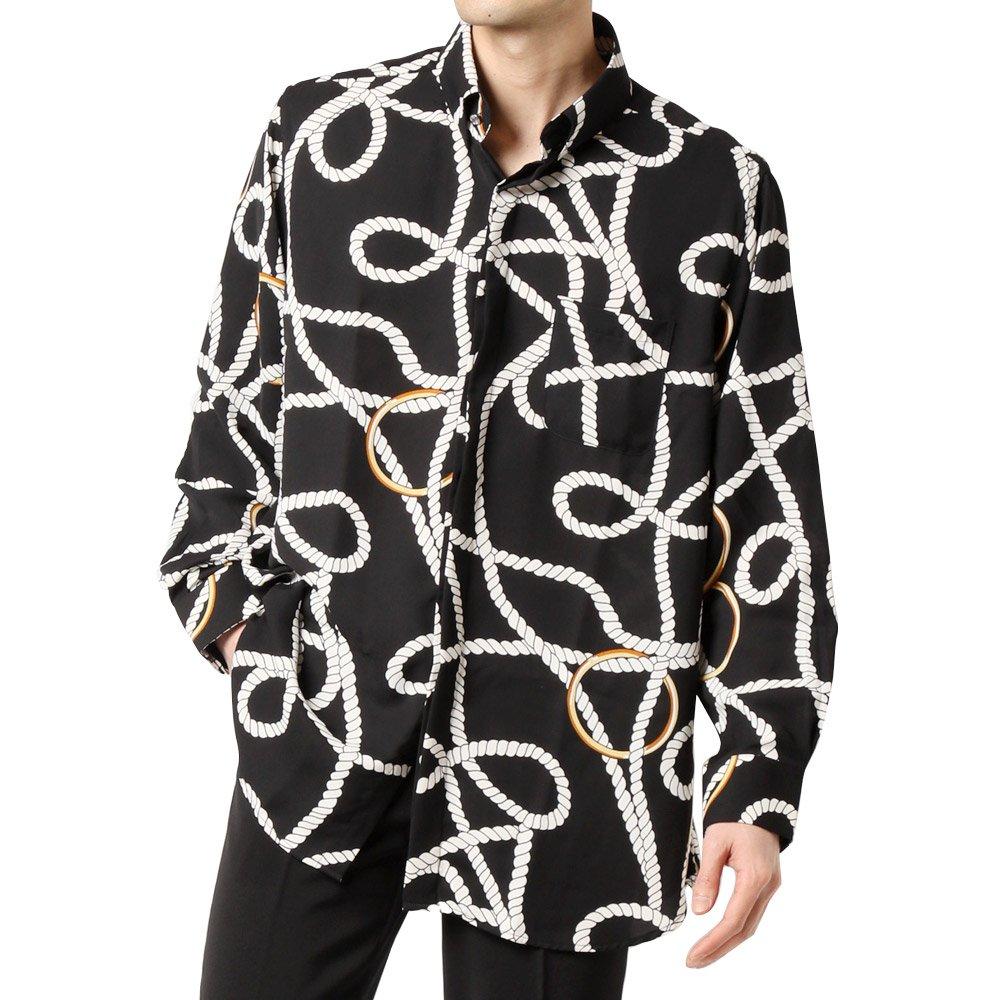 ロープ柄 サテン スナップダウン ドレスシャツ 男女兼用 衣装|カラー:ブラック