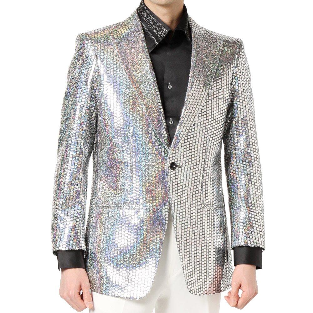 スパンコール ピークドラペル 1つボタン テーラードジャケット 男女兼用 衣装|カラー:シルバー