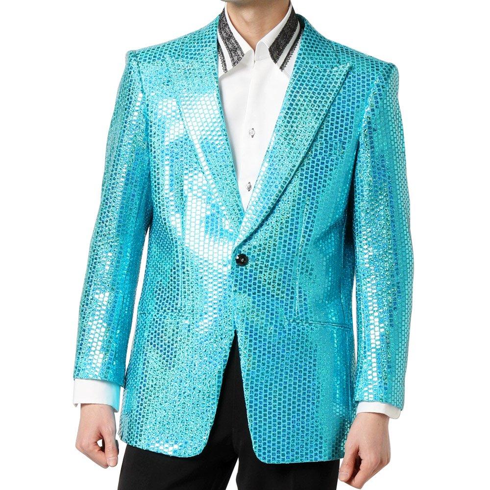 スパンコール ピークドラペル 1つボタン テーラードジャケット 男女兼用 衣装|カラー:サックス