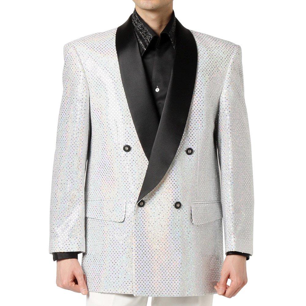スパンコール ショールカラー ダブルジャケット 男女兼用 衣装|カラー:ホワイト