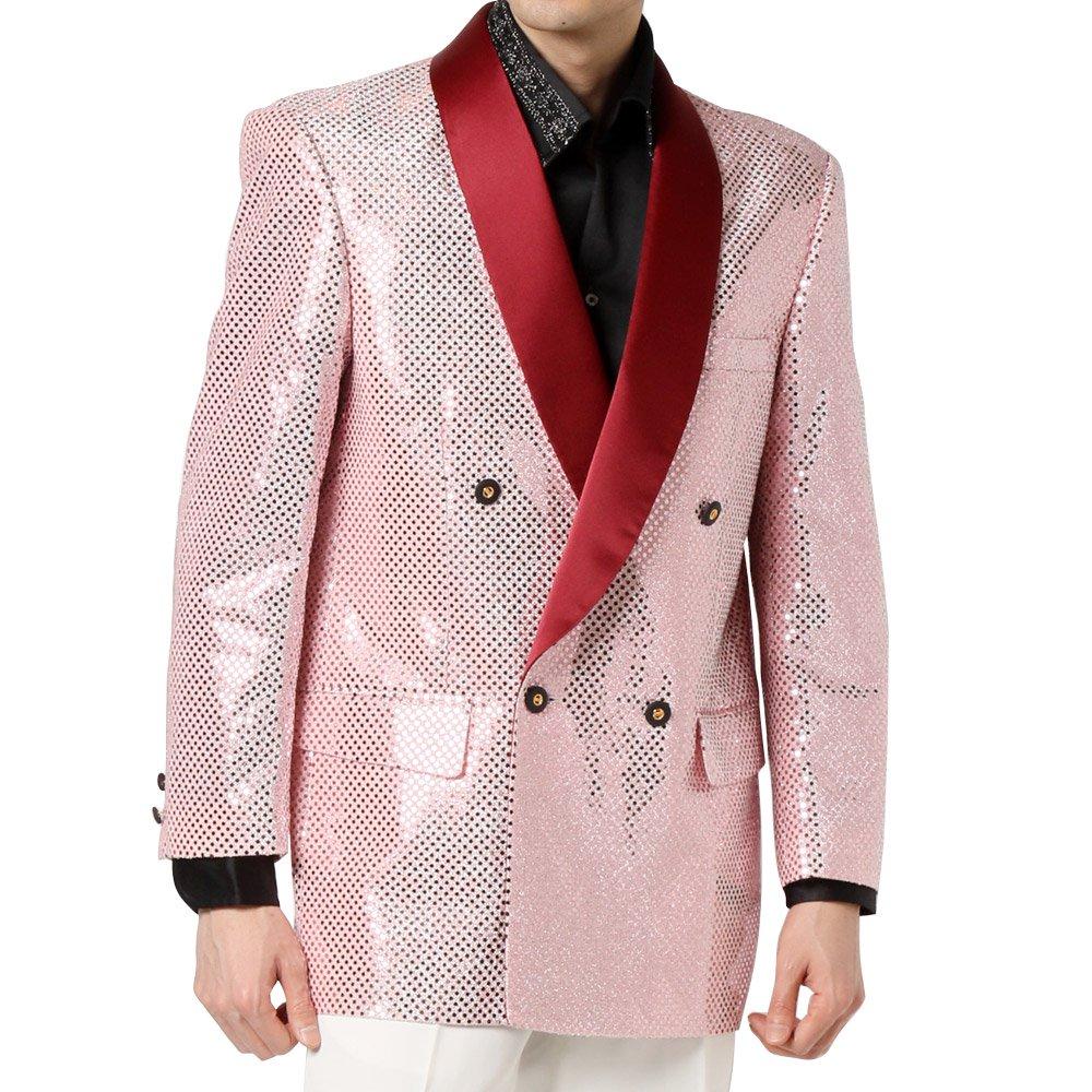 スパンコール ショールカラー ダブルジャケット 男女兼用 衣装|カラー:ピンク