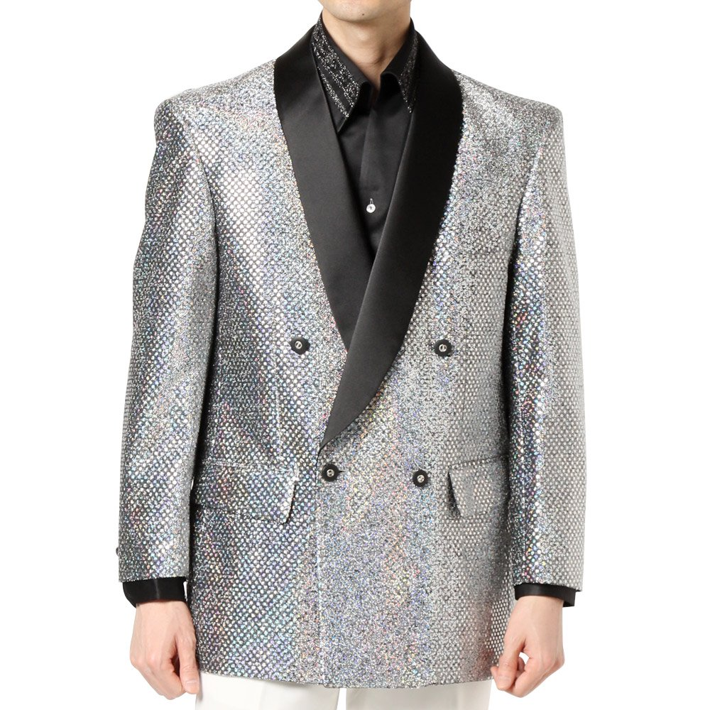 スパンコール ショールカラー ダブルジャケット 男女兼用 衣装|カラー:シルバー