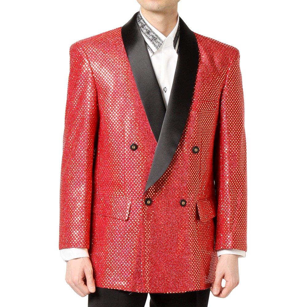スパンコール ショールカラー ダブルジャケット 男女兼用 衣装|カラー:レッド