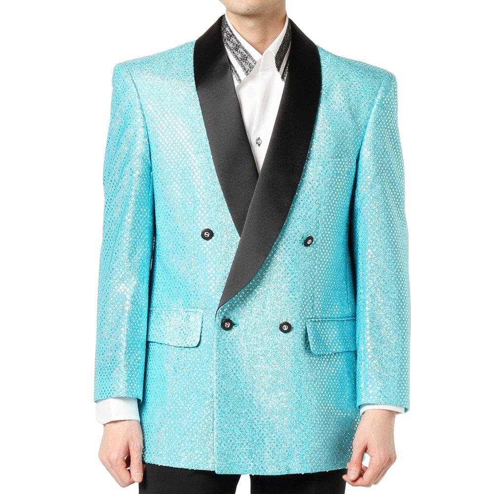 スパンコール ショールカラー ダブルジャケット 男女兼用 衣装|カラー:サックス