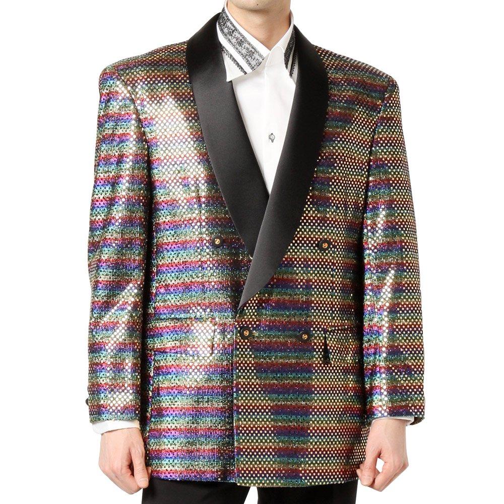 スパンコール ショールカラー ダブルジャケット 男女兼用 衣装|カラー:レインボー