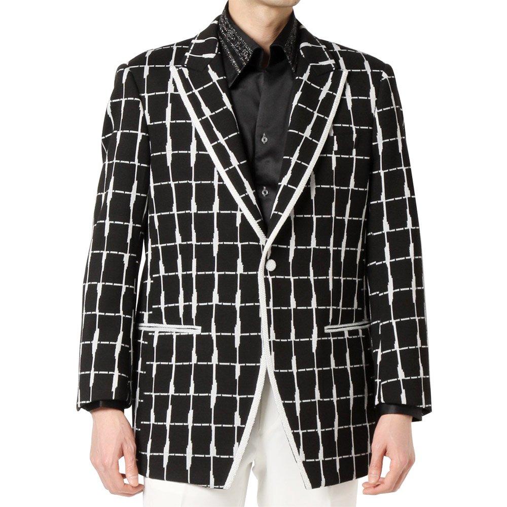 ランダムチェック パイピング 1つボタン テーラードジャケット 男女兼用 衣装|カラー:チェック