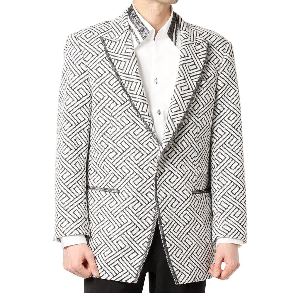 ランダムチェック パイピング 1つボタン テーラードジャケット 男女兼用 衣装|カラー:幾何学柄