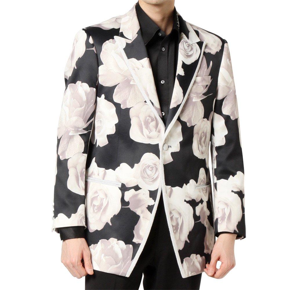 ランダムチェック パイピング 1つボタン テーラードジャケット 男女兼用 衣装|カラー:バラ柄