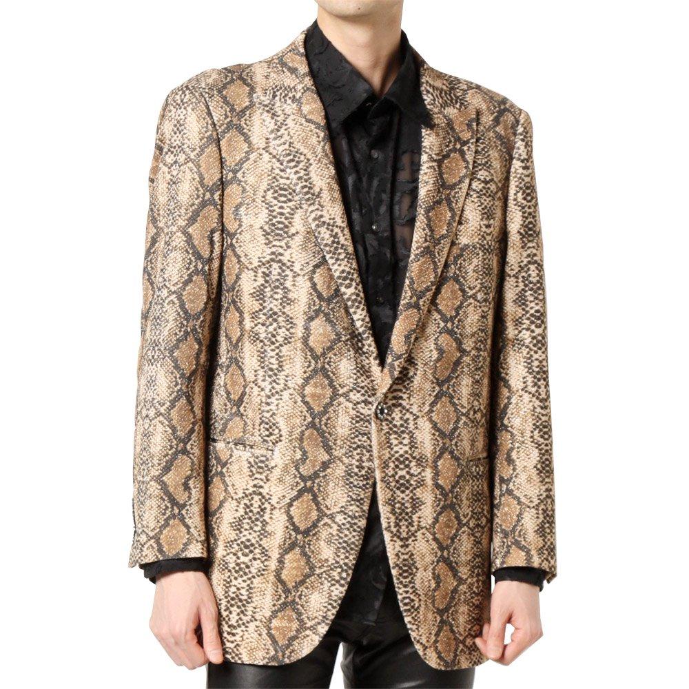 パイソン柄 1つボタン ピークドラペル テーラードジャケット 男女兼用 衣装|カラー:パイソン