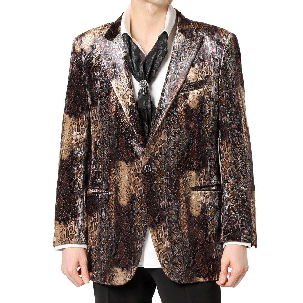 ブラックパイソン柄 1つボタン ピークドラペル テーラードジャケット 男女兼用 衣装|カラー:ブラックパイソン