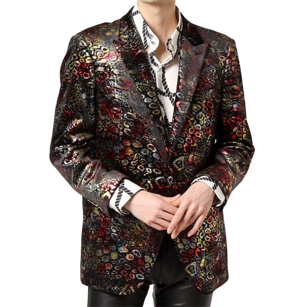 レオパード柄 1つボタン ピークドラペル テーラードジャケット 男女兼用 衣装|カラー:レオパード