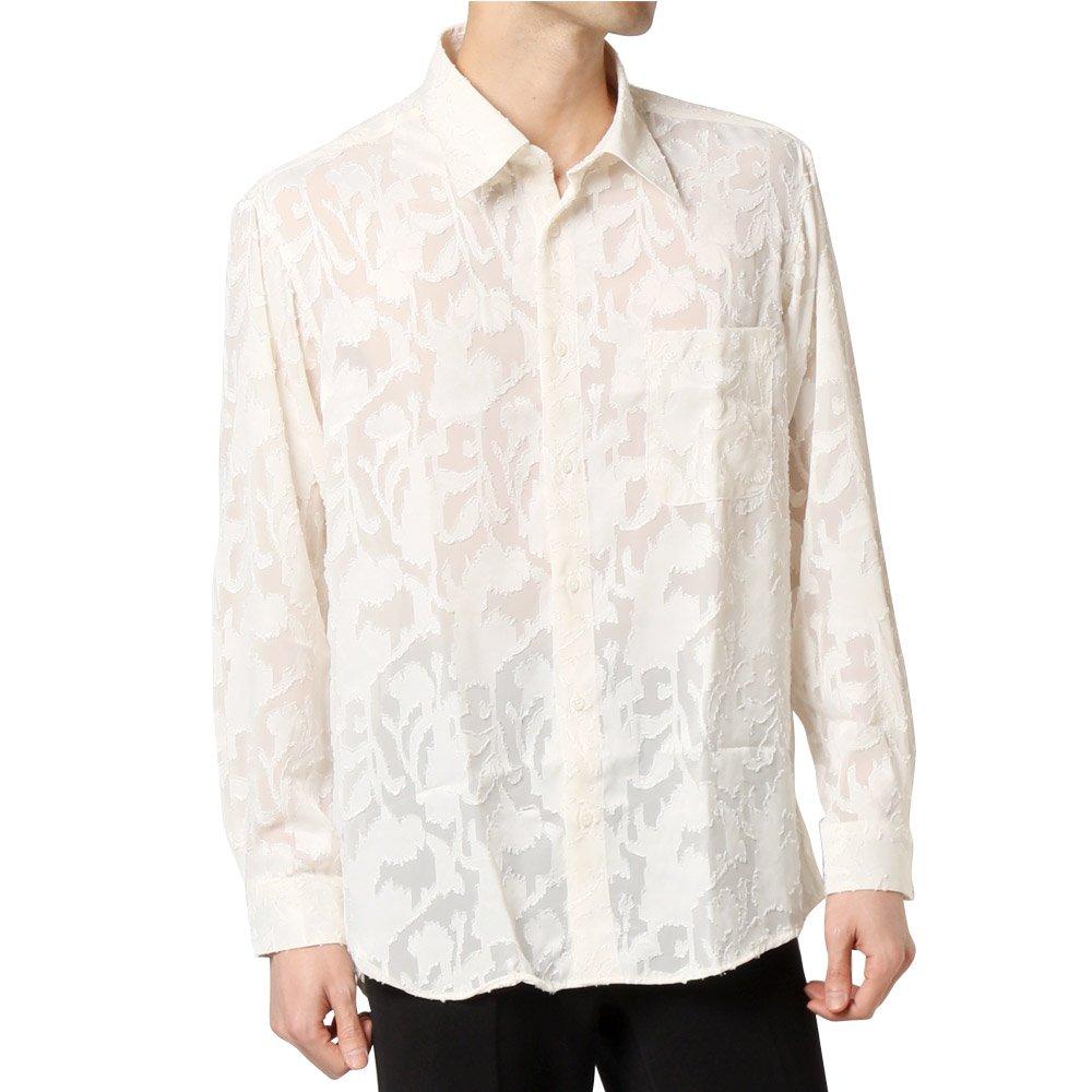 フラワー柄 オパール加工 シースルーシャツ 男女兼用 衣装|カラー:ホワイト