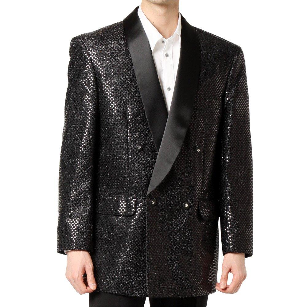 スパンコール ショールカラー ダブルジャケット 男女兼用 衣装|カラー:ブラック