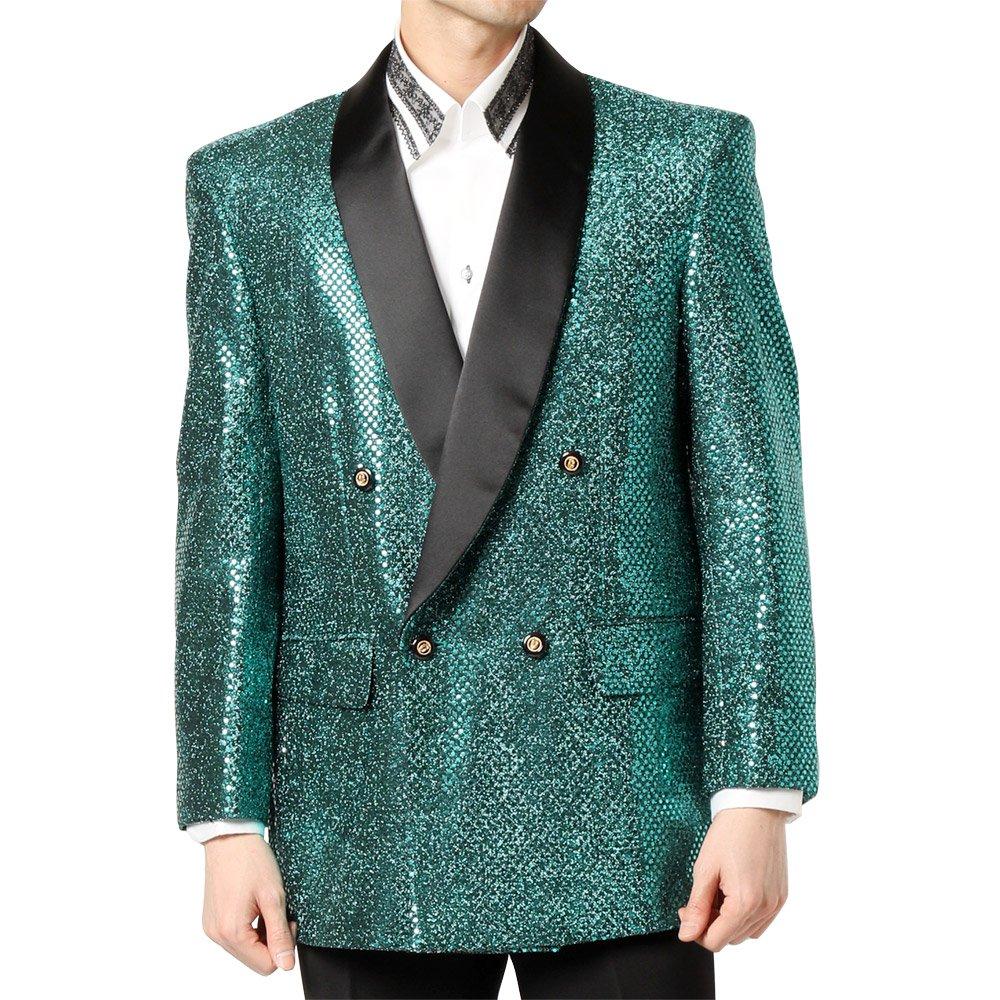 スパンコール ショールカラー ダブルジャケット 男女兼用 衣装|カラー:グリーン