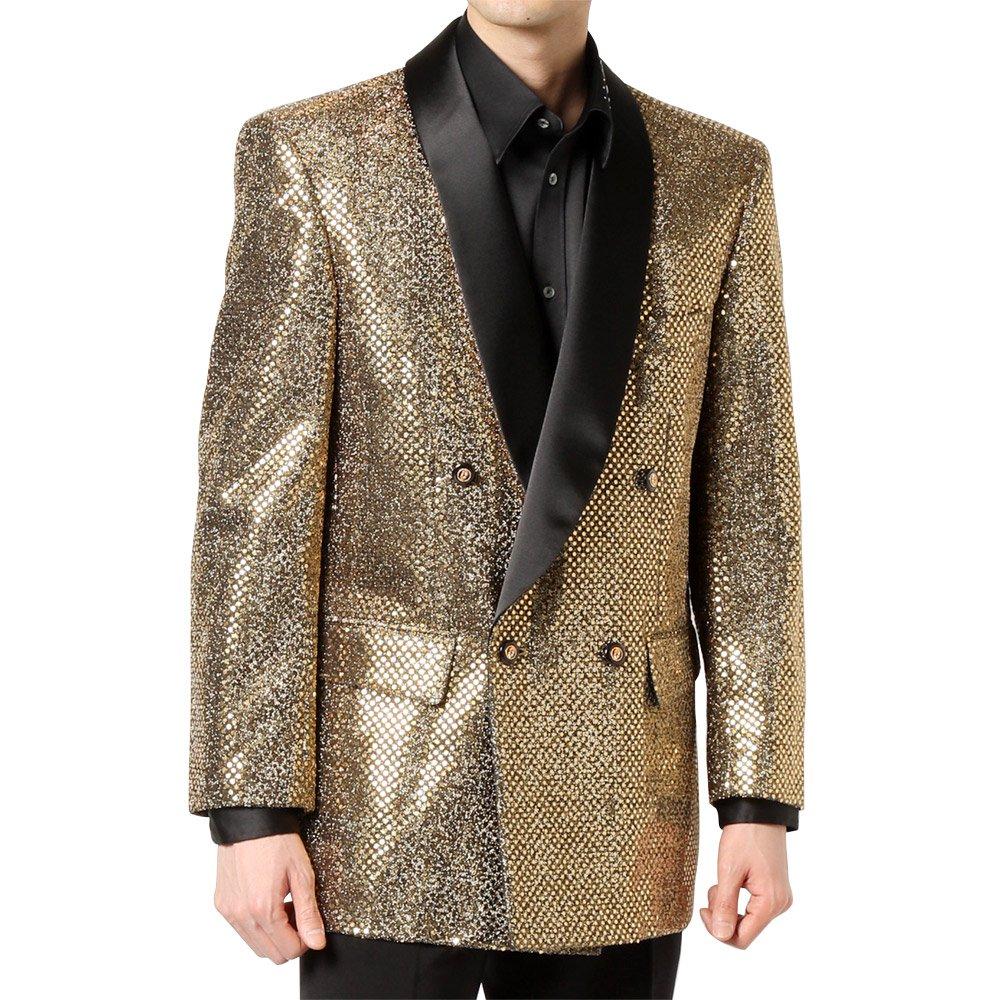 スパンコール ショールカラー ダブルジャケット 男女兼用 衣装|カラー:ゴールド