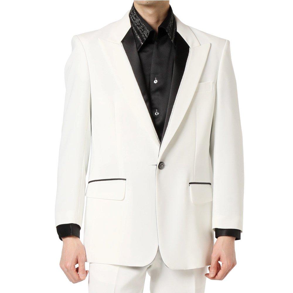 シングル 1つボタン衿切替ジャケット 男女兼用 衣装|カラー:ホワイト