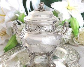 【純銀950】フレンチアンティーク銀器 バラ摘みのシュガー入れ