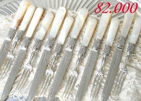 英国アンティーク【純銀】白蝶貝のデザートカトラリー6組12本