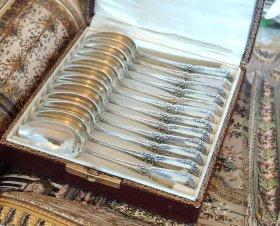 【仏銀950】ピュイフォルカ ポンパドール スプーンセット12本 箱入り
