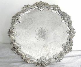 英国アンティーク【純銀】1840年 サルヴァ 47.5cm  2.15kg   GR Collins&Co