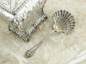 仏アンティーク銀器【純銀950】シュガースプーン/ティーキャディースプーン