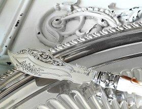 英国アンティーク銀器【純銀】バターナイフ George Unite