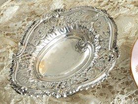 英国アンティーク銀器【純銀】1850年 ヴィクトリアン ペデスタルボンボンディッシュ   (MD有)