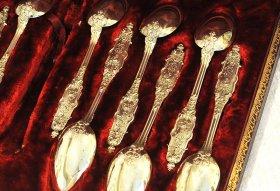 仏アンティーク銀器【純銀950(95%)】Puiforcat(ピュイフォルカ) ヴェルメイユ ティースプーン 12本セット