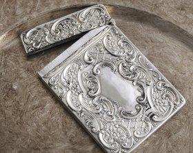 英国アンティーク銀器【純銀】1904年 カードケース Chester