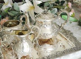 英国アンティーク銀器【純銀】1898年 ルイスタイルティーセット