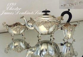 英国アンティーク銀器【純銀】1898年 バッチェラーサイズティーセット(美装飾)