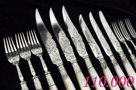 英国アンティークシルバー【純銀】白蝶貝のデザートカトラリー◆2タイプ計6組12本