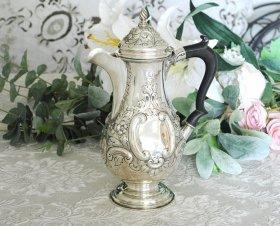 英国アンティーク銀器【純銀】1904年 ロココ装飾 コーヒーポット