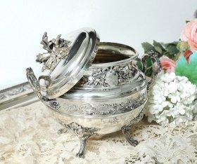 フランスアンティーク銀器【銀950】リボン装飾のシュガーポット V.Boivin