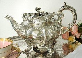 英国アンティーク銀器【純銀】1832年 ティーポット Barnard Family バーナード